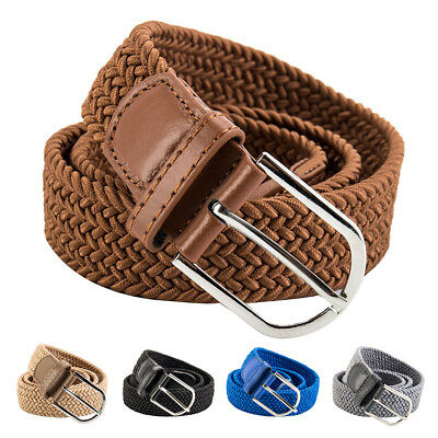 Men Women Waist Belt Leather Canvas Woven Elastic Stretch Pin Buckle Unisex