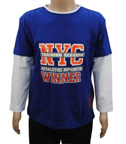 Boys B-Essential Long Sleeve T-Shirt Top Orange NYC Print Blue Age 2 to 14 Years