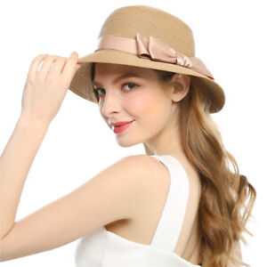 4924c9d989d7d Woman Sun Hats Straw Hat Wide Brim Braided Bow Outdoor Travel Cap ...