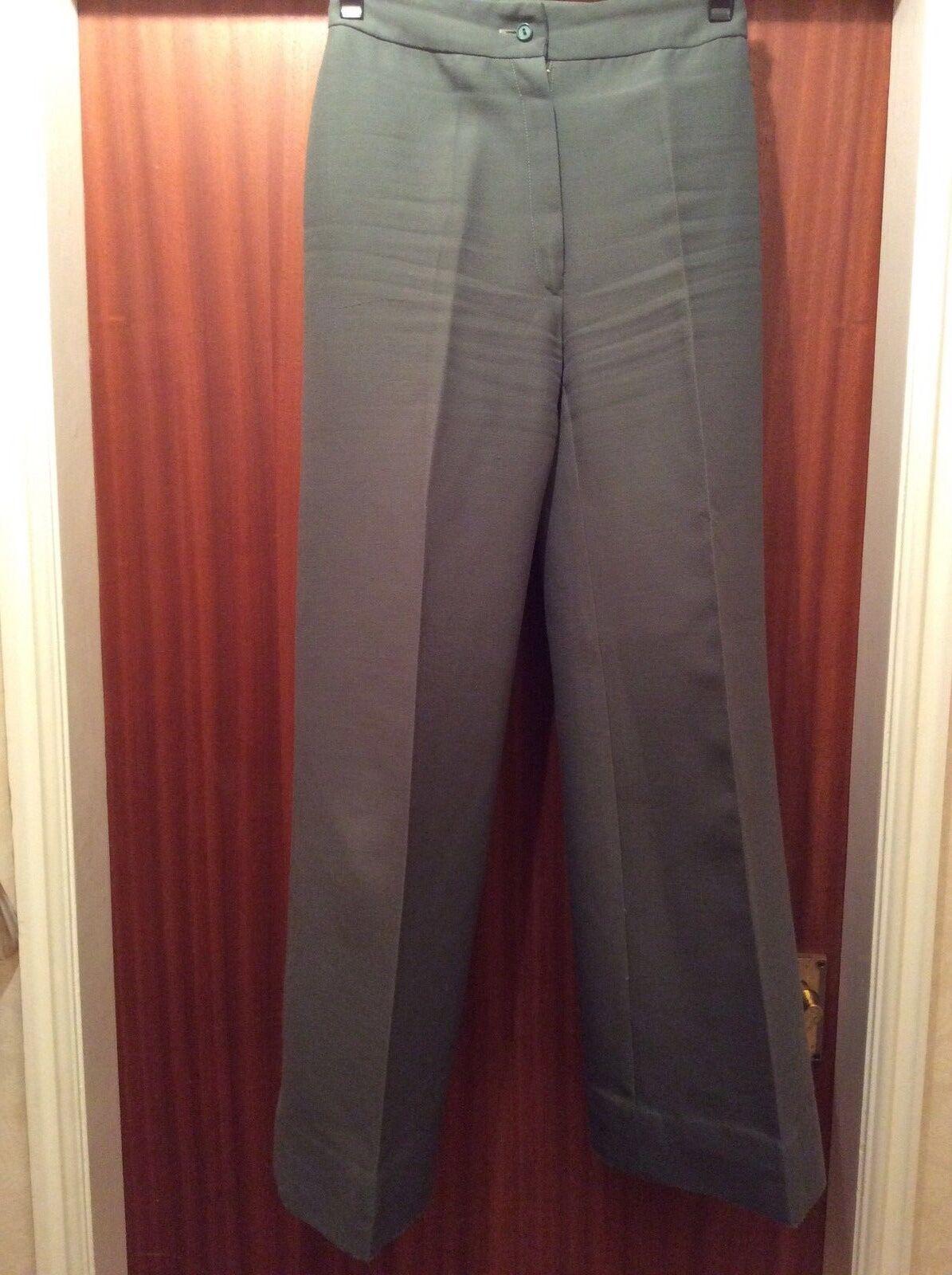1970's Jaques Grün Wide Leg Trousers 25% Wool Tergal Vintage Größe12 French Grün