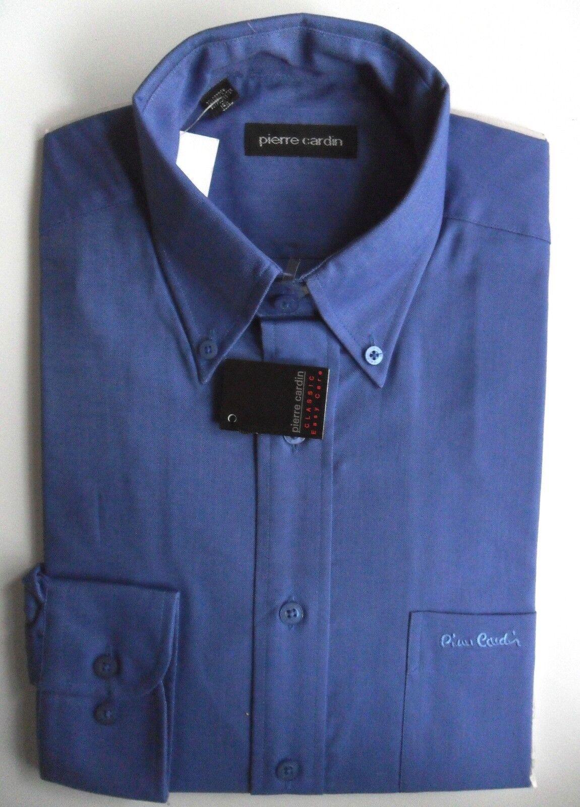 Pierre CARDIN Camicia Oxford Da Uomo A Maniche Lunghe Colletto Con Bottoni Blu Cobalto