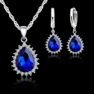 925-Sterling-Silver-Blue-Crystal-Cubic-Zirconia-Pendant-Necklace-and-Earring-Set