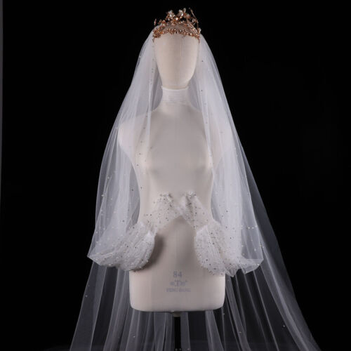 New Sequins pearl Edge Bridal Veil Cathedral Wedding Veil with Comb Accessories