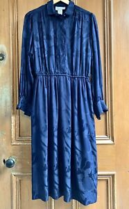 BLEU-MARINE-Paris-S14-Vintage-Blue-100-Silk-Dress-Dark-Academia-Art-Teacher