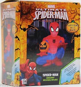 Halloween 3.8 ft Marvel Ultimate Spider-Man Holding Pumpkin Airblown Inflatable