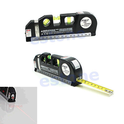 Laser Level Horizon Vertical Measure Tape 8FT Aligner Standard and Metric Ruler