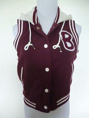 BONGO Juniors Red Wine White Fleece Hoodie Polyester Casual Varsity Vest Size M