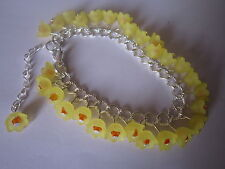 Yellow Lucite Flower Charm Bracelet - Silver Plated - Daffodils