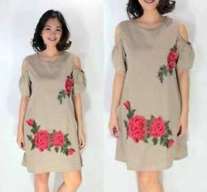 Embroided-Flower-Dress-Brown