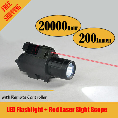Tactical Led Flashlight /& Red Laser Sight Scope Rifle Handgun Remote Controller