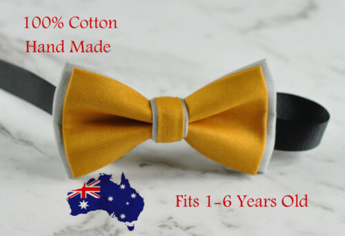 Boy Kids Baby Cotton BUTTERSCOTCH YELLOW and Grey Bow Tie Bowtie1-6 Years Old