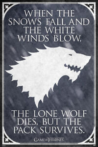 Details about GAME OF THRONES LONE WOLF QUOTE 24X36 POSTER FANTASY DRAMA  HBO TV SHOW STARK NEW