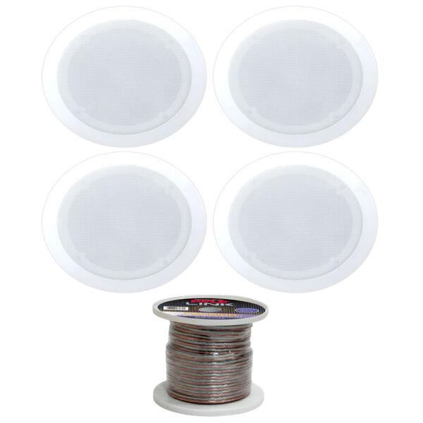 """(4) Pyle Pdic81rd In-ceiling Dual 8"""" Speakers With 100ft Speaker Cable Spool Nieuw (In) Ontwerp;"""