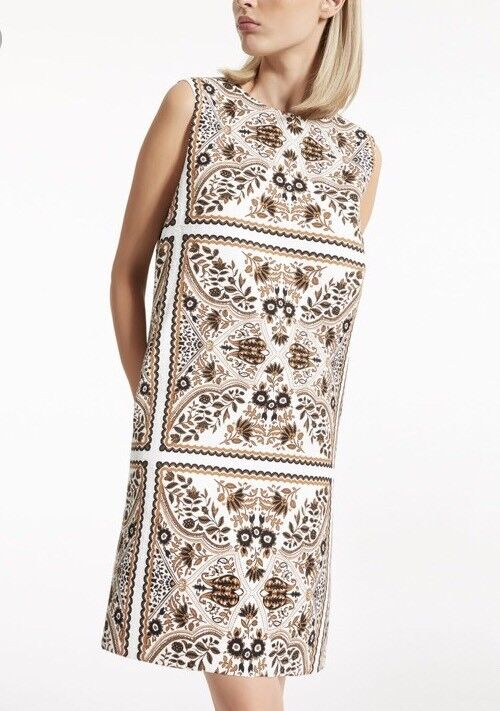 Max Mara Studio Berto Sleeveless Jacquard Mini Dress Printed White Brown 2