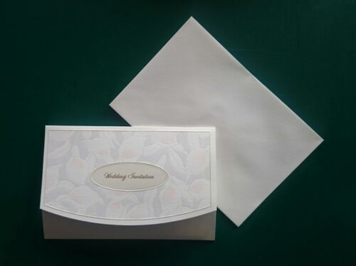 100 Wedding Invitations and Envelopes three folding design EMBOSSED