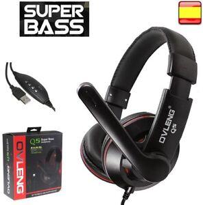 Cascos auriculares con micrófono gaming para pc cable usb OVLENG...