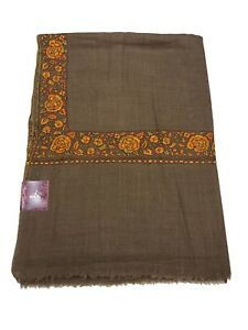 187c4b6b10 Image is loading Papier-Mache-Hand-Embroidered-Pure-Wool-Shawl-Kashmiri-