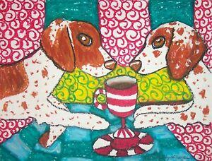 BRITTANY-Drinking-Coffee-Outsider-Dog-Pop-Folk-Vintage-Art-8-x-10-Signed-Print