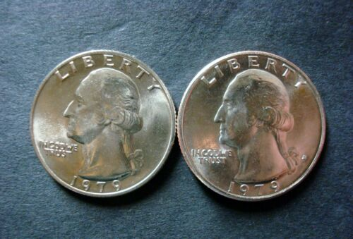 1979-P+D BOTH UNCIRCULATED WASHINGTON QUARTERS REMOVED FROM MINT SETS