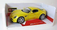 Bburago Diamond Alfa Romeo 8C Competizione Diecast Car Model 1/18 Yellow NEW