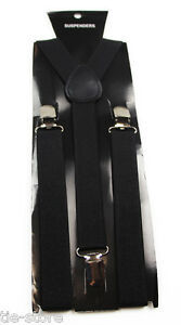 MENS-BLACK-SUSPENDERS-BRACES-ELASTIC-ADJUSTABLE-PARTY-WEDDING-MEN-039-S-WOMENS-85cms