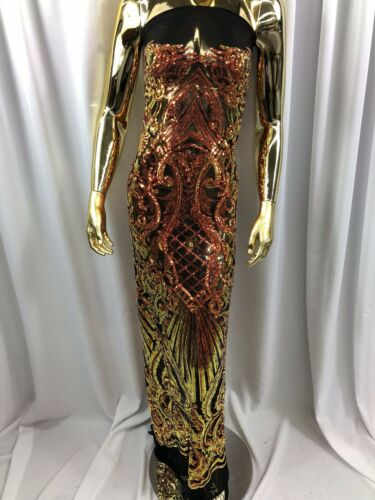 Iridescent Orange 4 Way Stretch Sequin Fabric Spandex Mesh-Prom-Gown By Yard