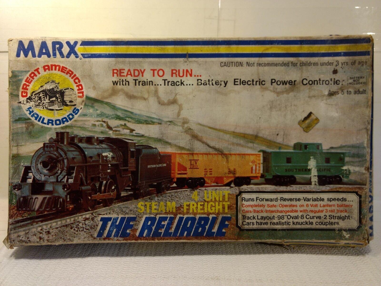 Marx listo para correr 4 unidad de vapor Tren de Cochega Set 2905 el calibre confiable o escala