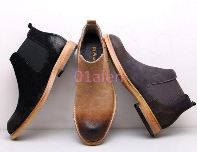 Mens Retro Vintage Brogue Chelsea Ankl Boots Chukka Desert High Top Shoes Flats