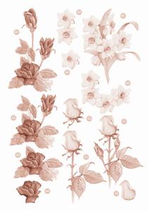 Craft UK A4 Die Cut Decoupage Sheet Line 116 Sepia Flowers Roses /& Daffodil