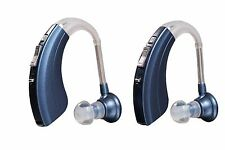 (2 Pack) Digital Hearing Aid Amplifier Kit by Britzgo 220D Blue  1 Year Warranty