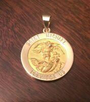 14k Yellow Gold Round Saint St. Michael Medal Charm Pendant 1.9 Grams 1.3 Inch