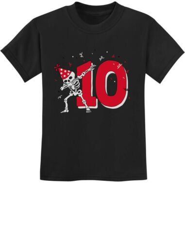 Dabbing Skeleton 10th Birthday Tenth Year Dab Youth Kids T-Shirt Dance