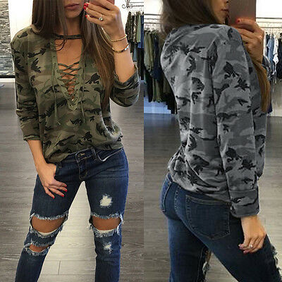 Fashion Sexy Womens Tops V-neck Long Sleeve Camouflage Blouse Casual T-Shirt NEW