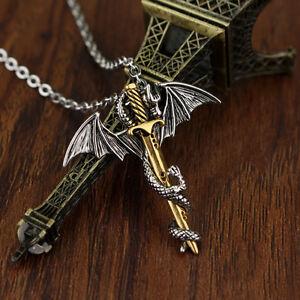 Exquisite-Men-039-s-Pterosaur-Sword-Pendant-Necklace-Chain-Stainless-Steel-LuSir
