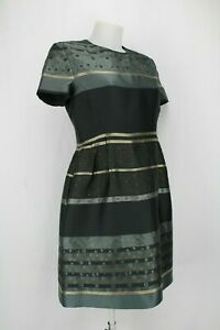 Victoria-Beckham-Black-and-Gold-Striped-Fit-and-Flare-Dress-UK-12-EU-44-US-8