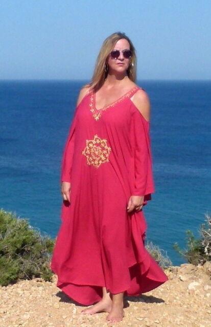 Lagenlook Kaftan Kleid Ibiza ♥ EG XXL 46 48 50 52 54 Hippie