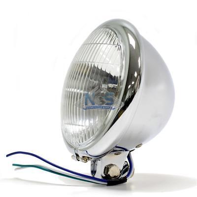 """Bates Style 5.75/"""" Chrome Headlight Shell Kit Blue Dot Chopper Bobber"""