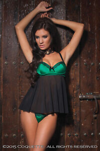 Coquette-Delux-Green-Satin-amp-Black-Mesh-Babydoll-Sexy-Lingerie