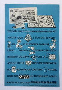 1968 Parker Brothers ad page ~ WINNIE THE POOH board game