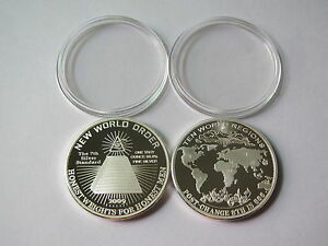 1-oz-Silber-Silver-Silbermunze-Silbermedaillie-New-World-Order-Weltordnung