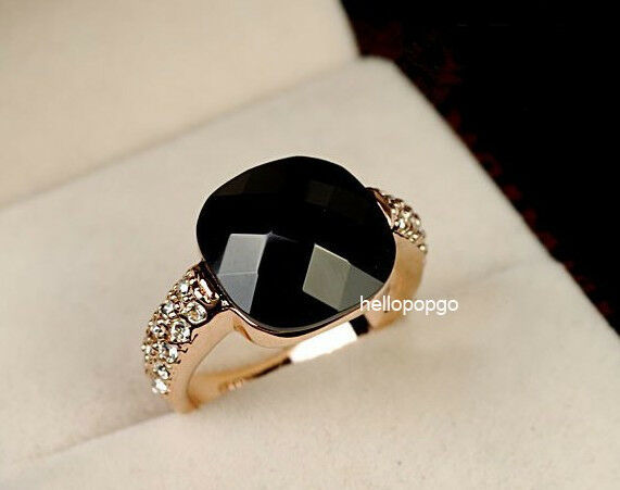 18K Rose Gold GP Austrian Crystal Black Fashion Jewelry Plated Ring  BR749