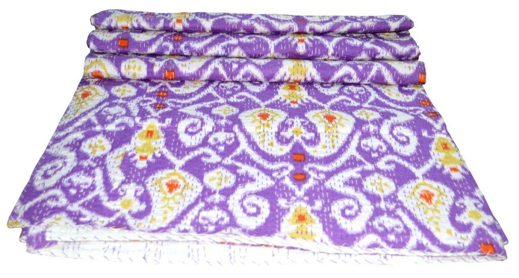 Indian Queen Größe Multi Farbe Ikat Print Kantha Quilt Reversible Bedspread Throw