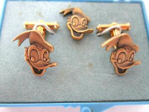 Vintage-Disney-Donald-Duck-Cuff-Links-and-Tie-Tack-Pin-In-Original-Plastic-Box