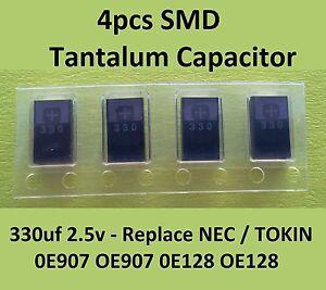 4x Smd Tantalum Capacitor 330uf 2 5v Replace Nec Tokin