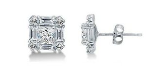 e9a964814 Solid 14k White Gold 0.10 CTW Diamond Stud Earrings 11mm Princess ...
