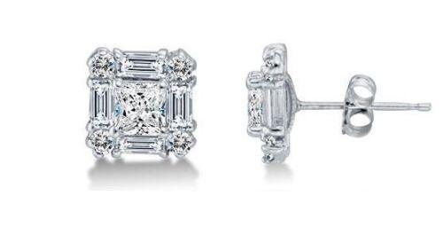Solid 14k White Gold  0.10 CTW Diamond Stud Earrings 11mm Princess /& Baguette