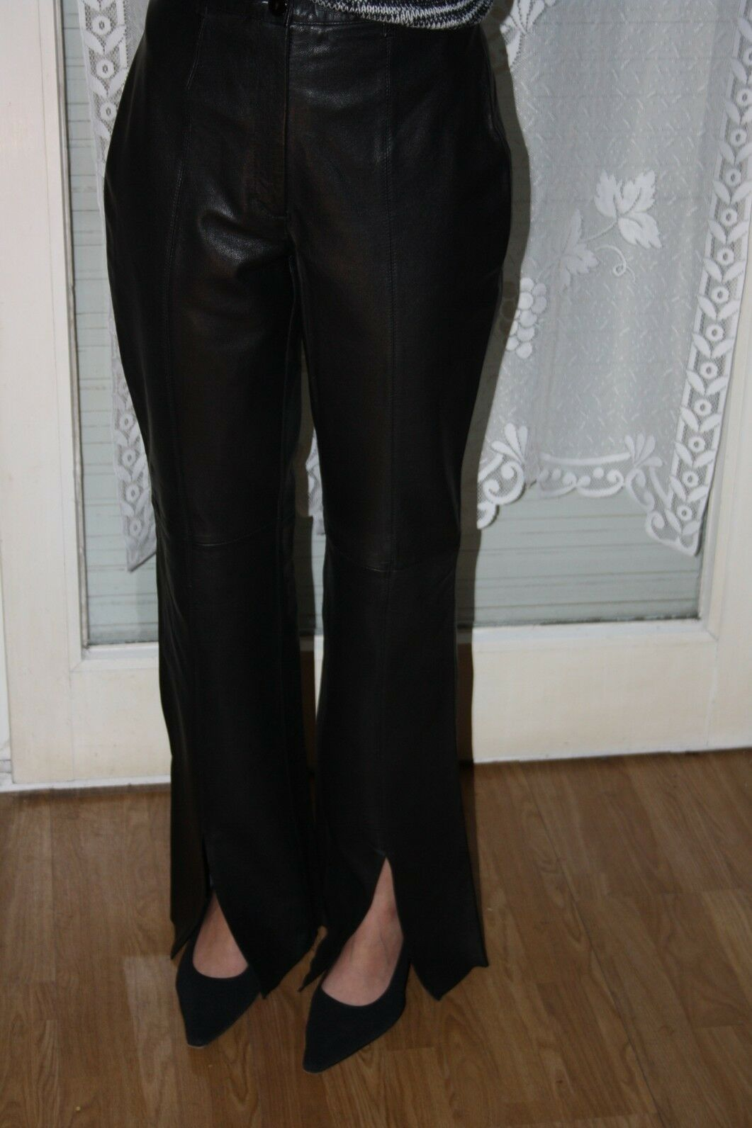 Damen Lederhose, MAX & MARY mit Schlitzen, schwarz, Gr. W30 (DE 40)