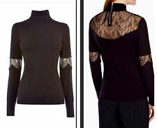 Karen Millen French Lace Black Top T Shirt Blouse Jersey High Neck 10 Uk New