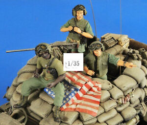1-35-Resin-US-Armored-Force-3-Soldiers-Kit-Unpainted-Unbuild-1251