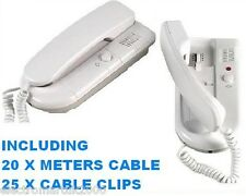 2 WAY INTERCOM SYSTEM TELEPHONE STYLE CABLE & CLIPS